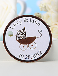Personalized Favor Tag - Brown Pram (Set of 36)