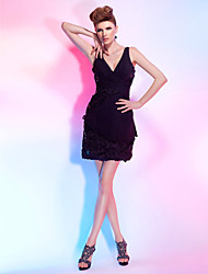 Sheath / Column V-neck Short / Mini Chiffon Lace Cocktail Party Homecoming Dress with Lace Sequins Side Draping Criss Cross by TS Couture®