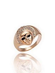Gorgeous Cubic Zirconia 18K Gold Plated Pharaoh Face Shape Fashion Ring