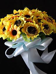 élégant satin forme ronde nuptiale bouquet de mariage