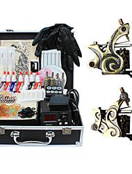 2 de tatuagem kits de máquinas com fonte de alimentação de qualidade top lcd