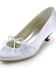 Women's Spring Summer Fall Satin Stretch Satin Wedding Low Heel Ruffles Black Blue Pink Red Ivory White Silver