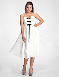 Cocktail Party Dress - Ivory Plus Sizes / Petite A-line / Princess Sweetheart / Strapless Tea-length Chiffon