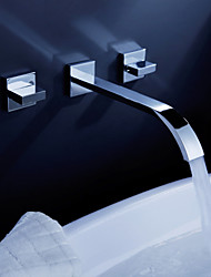 Contemporary Wall Mounted Waterfall with  Ceramic Valve Two Handles Three Holes for  Chrome , Bathroom Sink Faucet