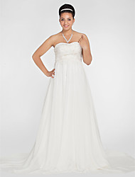 Lanting Bride A-line / Princess Petite / Plus Sizes Wedding Dress-Court Train Sweetheart Chiffon