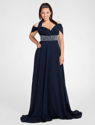 Formal Evening/Military Ball Dress - Dark Navy Plus Sizes Sheath/Column Halter/Off-the-shoulder Sweep/Brush Train Chiffon