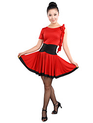 Latin Dance Dresses Women's Training Viscose Ruffles Black / Red / As Picture Latin Dance Spring / Summer / Fall Sleeveless High