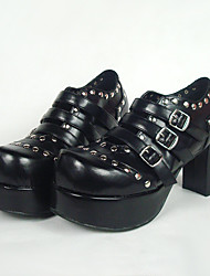 Lolita Shoes Punk Lolita Lolita High Heel Shoes Solid 8 CM Black For Women PU Leather/Polyurethane Leather
