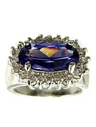 grande lusso cubic zirconia platinato moda anello