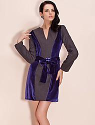 ts lã e veludo cor bloco vestido de tecido mix