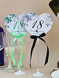 Flower Print Heart Shape Table Number Cards With Holders - Set Of 10(More Colors)