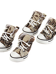PethingTM Camouflage Canvas Style Shoes for Dogs (XS-XL, Green)