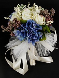 Beautiful Satin / Cotton With Ribbon Round Shape Wedding Bouquet