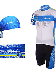 Cycling BIB Suits with Head Scarf and Arm Warmers(Blue and Yellow)