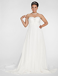 Lan Ting A-line/Princess Plus Sizes Wedding Dress - Ivory Court Train Sweetheart Chiffon