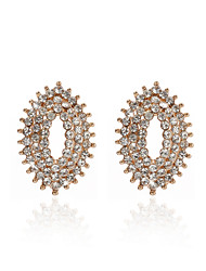 18K Gold Plated Charming Clear Rhinestone Round Fashion Earrings