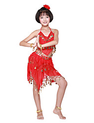 Dancewear Chiffon With Coins/Beading Performance Belly Dance Outfit For Kids More Colors