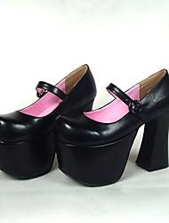 Zapatos Lolita Clásica y Tradicional Lolita Tacón alto Zapatos Un Color 12.5 CM Negro Para Mujer Cuero Sintético/Cuero de Poliuretano