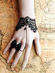 handmade preto renda retro estilo clássico com pulseira lolita conjunto anel arco