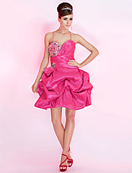 Ball Gown Spaghetti Straps Short/Mini Taffeta Cocktail Dress