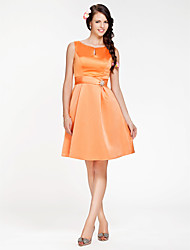 Knee-length Scoop Bridesmaid Dress - Elegant Sleeveless Satin
