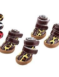 Cães Sapatos e Botas Leopardo Branco / Amarelo / Rosa Primavera/Outono Pele PUCão Sapatos