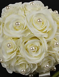 "Wedding Flowers Round Roses Bouquets Wedding Satin / Cotton Ivory 8.66""(Approx.22cm)"