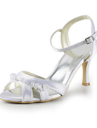 Satin Low Heel Sandals With Buckle / Ruffles Wedding Party Women's Shoes