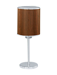 60W Comtemporary Brown Fabric Table Light with Metal Stand