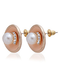 Charming 18K Gold Plated Round Pearl Earrings