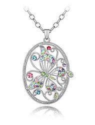 lega e cristallo di design intelligente collana farfalla platinato