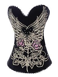cotone / poliestere con strass / fiore senza bretelle retro corsetti chiusura busk shapewear sexy lingerie shaper