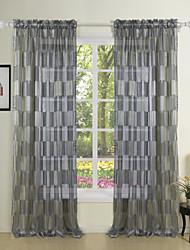 (Two Panels) Newyork Black Fashion Sheer Curtain