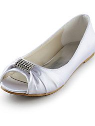 Women's Shoes Peep Toe Flat Heel Satin Flats Wedding Shoes More Colors available