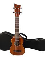 shaka - (las-2) solide okoumé soprano ukulele hawaii avec étui concert (touche prolongée)
