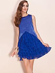 ts schimmernde Stoff geschichteten Chiffon-Rüsche Kleid