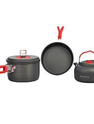 2-3 People 5PCS Camping Cookset (2.2L Pot,1.7In Pan,1.4L Kettle)