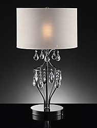 60W 1- Light Stylish Crystal Table Light with Fabric Shade