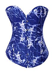 Algodão / Poliéster Com azul sem alças Frente Impressão Shapewear Busk Encerramento Corsets