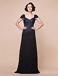 A-line Straps Floor-length Stretch Satin And Chiffon Mother of the Bride Dress
