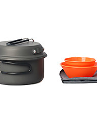 5PCS 1-2 Pessoas Camping Cookset (Pot 0.9L, Pan 6Em, Tigela 200ml, 175ml Cup)