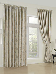 (One Panel)Country Jacquard Floral Blackout Curtain