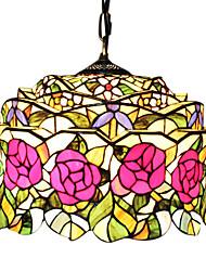 2 - Light Tiffany Pendent Lights with Rose Design