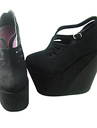 Fatto a mano nero in pelle PU Wedge 16 centimetri Scavate Gothic Lolita Shoes