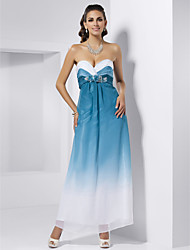 Sheath/Column Strapless Sweetheart Ankle-length Chiffon Evening Dress With Flowers