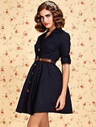ts botão vintage para baixo vestido trincheira