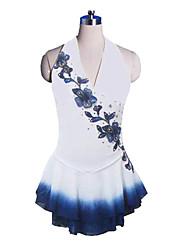 Hängende Neck Style Sleeveless Blume Gedruckt Graceful Ice Skating Dress