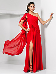 Formal Evening/Military Ball Dress - Ruby Plus Sizes Sheath/Column One Shoulder Floor-length Chiffon