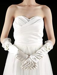 Elbow Length Fingertips Glove Satin Bridal Gloves