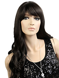 Capless Long High Quality Synthetic Japanese Kanekalon European Style Wavy Wig Side Bang